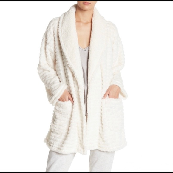 Ivory Faux Shearling Textured Open Cardigan NWT